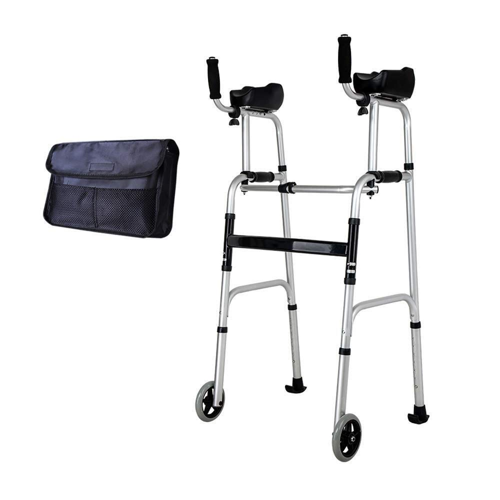 Walking Frame with Wheels Narrow, Portable Bag Lockable Brake Adjustable Height Auxiliary Walking Safety Walker (Color : with arm Drag)