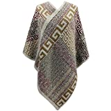 Best Luxury Divas Travel Ponchos - Luxury Divas Beige Multicolor Greek Key Pattern Thick Review