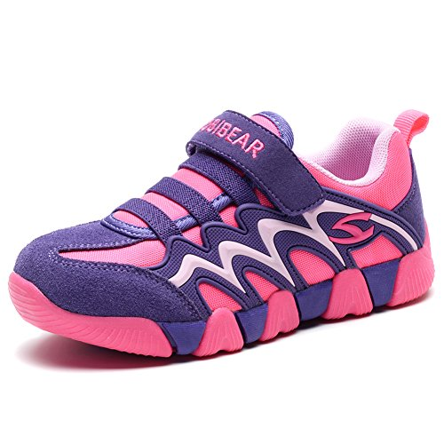 (BODATU Boy's Girl's Sneakers Comfortable Running Shoes(Toddler/Little Kid/Big Kid) Fushia/Purple)