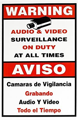 "R-Tech Security Surveillance CCTV Camera Video Warning Sign Decal 11"" X 18"" Weather-Resistant"