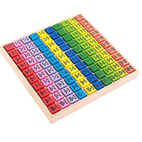 lightclub 10x10cm Wooden 99 Multiplication Table Math Teaching Aids Educational Kid Toy for Basic Skill Learning Intelligence Development 1 -