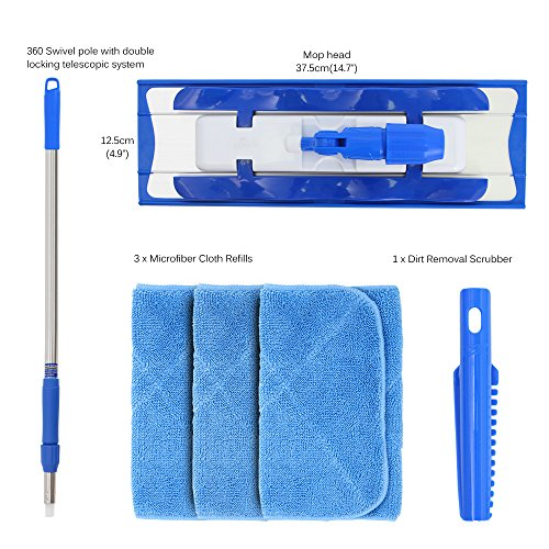 -[ MR. SIGA Professional Microfiber Mop (Included 3 Microfiber Cloth Refills and 1 Dirt Removal Scr
