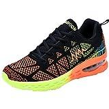Cheap JARLIF Men's Road Running Sneakers Fashion Sport Air Fitness Workout Gym Jogging Walking Shoes BlackOrange US11