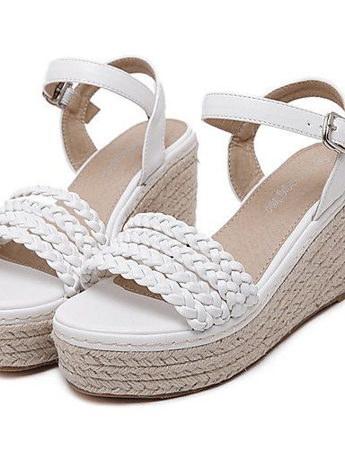 ShangYi Women's Shoes Leatherette Wedge Heel Open Toe Sandals Party & Evening / Dress White / Gray White rKtUR1rCLF