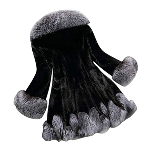 Rvxigzvi Plus Size Women Girl Hooded Faux Fur Coat Front Opening Warm Outwear for Winter Casual Wedding Party (Black, 4XL) by Rvxigzvi (Image #1)