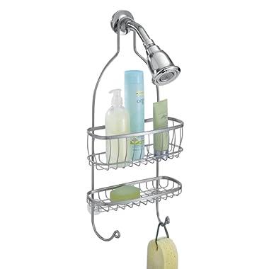 mDesign Bathroom Shower Caddy for Shampoo, Conditioner, Soap, Razor - Silver