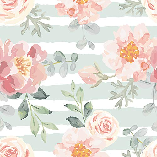 AMAZING WALL Summer Water Color Floral Pattern Peel and Stick Self Adhesive Wallpaper,15.7x198inch