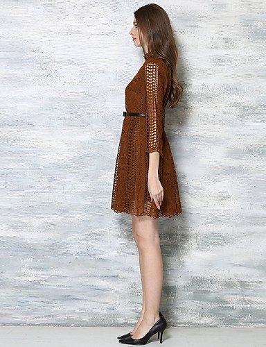 PU&PU Robe Aux femmes Lace / Swing Vintage / Street Chic,Couleur Pleine Col Ras du Cou Au dessus du genou Coton , camel-l , camel-l