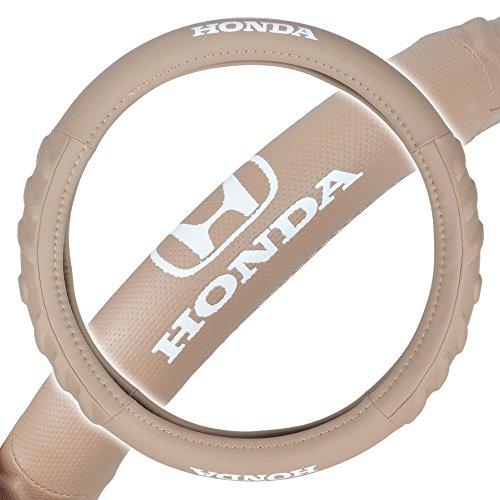 Beige Stock - Honda Premium Synthetic Leather Steering Wheel Cover- Car Truck SUV & Van, Medium 14.5