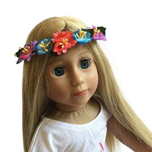 Adorable Doll Headband for 18 inch Dolls-Floral Wreath with Elastic Blue, Purple, Pink flowers Hair Accessories By The New York Doll Collection
