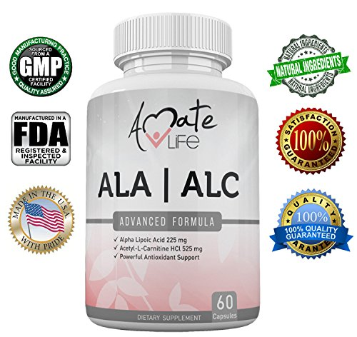 ALA/ALC High Potency Formula- Best Alpha Lipoic Acid and Acetyl-L-Carnitine HCl Dietary Supplement- Powerful Antioxidant Support- Energy Boost- Weight Loss Supplement- 60 Capsules
