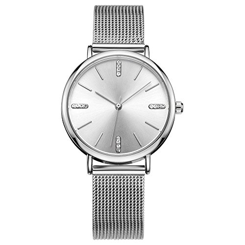 Women's Quartz Watches - Ladies Analog Waterproof Casual Wristwatches Dress Watches Ideal Gift Silver ()