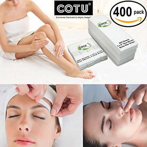 400 Pack of COTU (R) Salon Quality Non Woven Body and Facial Hair Removal Wax Strips (200 Large & 200 Small)