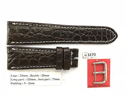 24mm/20mm DARK BROWN Genuine Crocodile Leather Skin Watch Strap Band Men HANDMADE H3270 D#