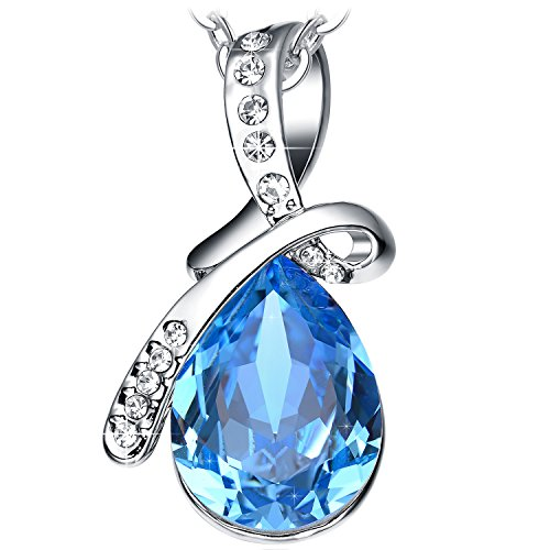 NEEMODA Sapphire Blue Crystal Pendant Necklace White Gold Plated Womens Fashion Jewelry Gifts for Her