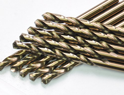DrillForce 10pcs 9/64 inch x 2-7/8 inch Cobalt Drill Bits, High Speed Steel Twist Drill Bits, Jobber Length, Round Shank. Can drill Stainless Steel, Ideal for DIY, home, general building and engineeri