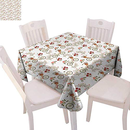 cobeDecor Floral Stain Resistant Wrinkle Tablecloth Nostalgic Romance with Bikes Baskets Full of Poppy Flowers Baskets Love Birds Spring Square Wrinkle Resistant Tablecloth 70