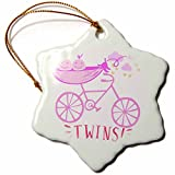 3dRose RinaPiro - Kids - Twins. Girls. Announcement. Cute picture. - 3 inch Snowflake Porcelain Ornament (orn_261341_1)