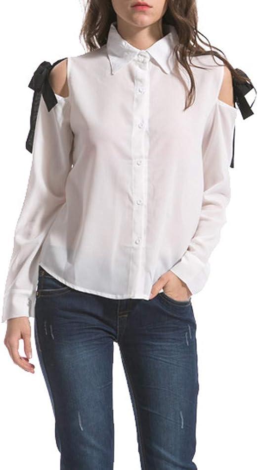 Camiseta de Mujer, Mujeres Verano Fashion S-6Xl Casual Suelto Hombro Sólido Openwork Bow Blusa Top, Mujeres Tallas Grandes Moda Mujer Camisas Mujer Verano Elegantes Casual Mujer: Amazon.es: Ropa y accesorios