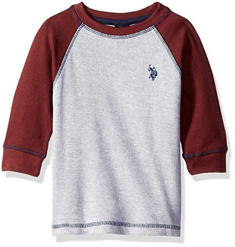 (U.S. Polo Assn. Boys Long Sleeve Solid Crew Neck T-Shirt, Raglan Thermal Light Heather Gray 10/12)