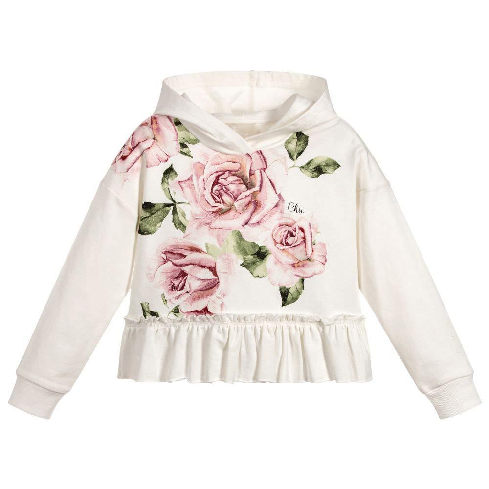 KunLunMen Girls Crop Tops Hoodies Cute Sweatshirts Floral Ruffle Long Sleeve Tops 10-11 Years