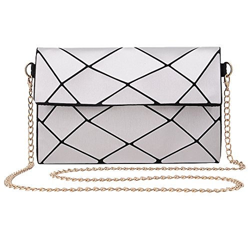 Party Silver Clutch Silver2 Cross Geometric Women Ladies Plaid Shoulder Boutique Novias Bag Body ZSpP8qp
