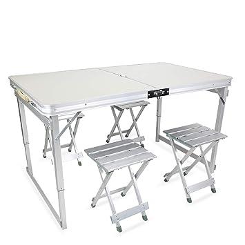 BENHOM Mesa Plegable con 4 sillas Plegables de aleación de ...