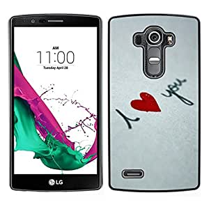 // PHONE CASE GIFT // Duro Estuche protector PC Cáscara Plástico Carcasa Funda Hard Protective Case for LG G4 / I love you Heart /