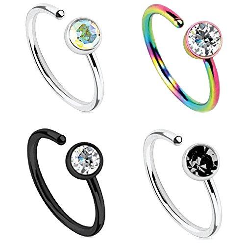 BodyJ4You 4PCS Set Nose Ring 20G Hoop Black Surgical Steel Rainbow Nostril Body Jewelry Piercing (Loop Stud)
