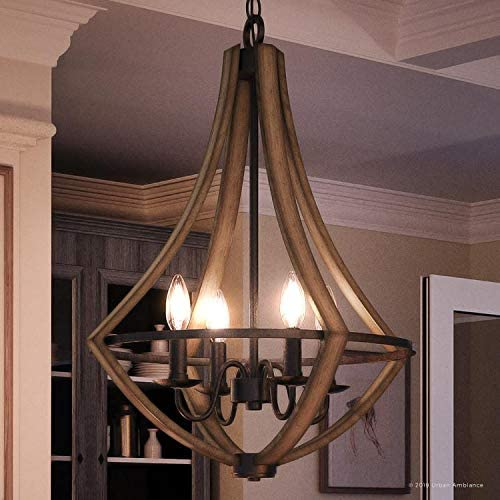 Luxury Farmhouse Chandelier, Medium Size 24 H x 18.25 W, with Rustic Style Elements, Wood Grain Metal with Antique Black Finish, UQL2962 from The Swansea Collection by Urban Ambiance