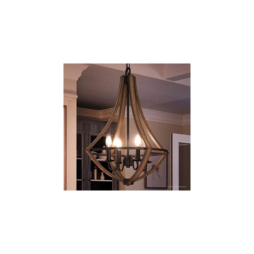 """Luxury Farmhouse Chandelier, Medium Size: 24""""H x 18.25""""W, with Rustic Style Elements, Wood Grain Metal with Antique Black Finish, UQL2962 from The Swansea Collection by Urban Ambiance"""