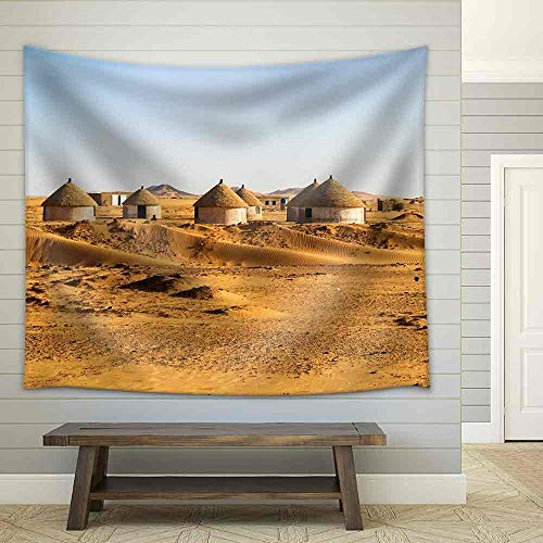 Village Nubian (YGUIRRI Nubian Village on The Way from Dongola to Khartoum in Sahara Desert Tapestry Wall Hanging Fabric Cloth for Livig Dorm Home Decor Blanket Wall Art, 51x60 inches)