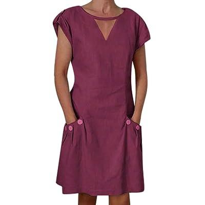 Shakumy Women Cotton Linen Cut Out V Neck Short Mini Dress Casual Short Sleeve Summer Tunic T Shirts Tops Blouses Dress: Sports & Outdoors