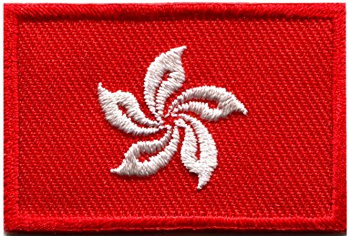 Flag of Hong Kong China Chinese orchid embroidered applique iron-on patch new size Medium (China Orchid)