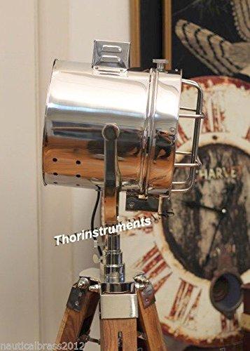 Modern Designer Nautical Chrome Finish Spot Light Tripod Floor Lamp Searchlight with Wooden Tripod Stand