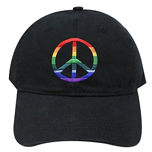 (City Hunter C104 Rainbow Peace Sign Cotton Baseball Caps - Multi Colors (Black))