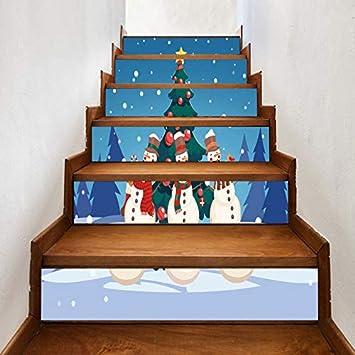 Conjunto De 6 Piezas Pegatinas De Escaleras Árbol De Navidad Etiqueta Engomada De La Escalera Sala De Estar 3D Escaleras De Vinilo A Prueba De Agua Nueva Decoración Año 18 * 100cm: