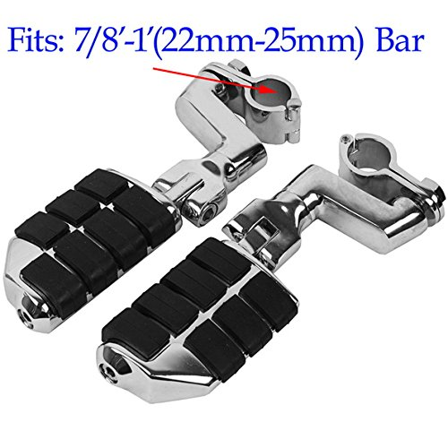 Tengchang Chrome Front Rubber Inlay Foot Pegs Motorcycle Footpeg Footrest Bracket Set For Honda GOLDWING GL1800 2002 2003 2004 2005 2006 2007 2008 2009 2010