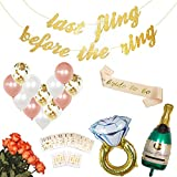 Bachelorette Party Decorations Kit | Bridal Shower Supplies | Rose Gold Bride to Be Sash, Bride Tribe Tattoos, Champagne & Ring Foil Balloon, Confetti Balloons, Bachelorette Party Banner Favors