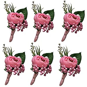 6 Pieces/lot Groom Boutonniere Man Buttonholes Wedding Flowers Party Decoration (Pink) 61