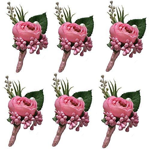 (6 Pieces/lot Groom Boutonniere Man Buttonholes Wedding Flowers Party Decoration (Pink))