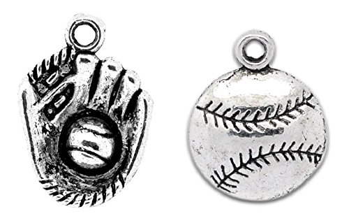 Baseball or Softball Charms - 70 Pieces (20 Glove and 50 Ball) (Pendants Over Pewter)