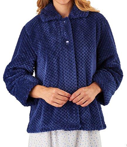 "Slenderella Ladies 24""/61cm Luxury 260GSM Soft Thick Waffle Fleece Collared Button Up Bed Jacket Size Small Medium Large XL XXL & XXXL Navy Blue"