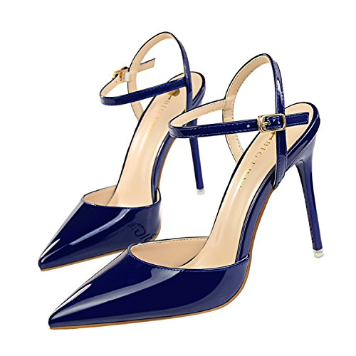 (Pointed Toe High Heels Shoes Woman Shallow Slingback Pumps Ladies Buckle Strap Party Wedding Stilettos Shoes Blue 7)