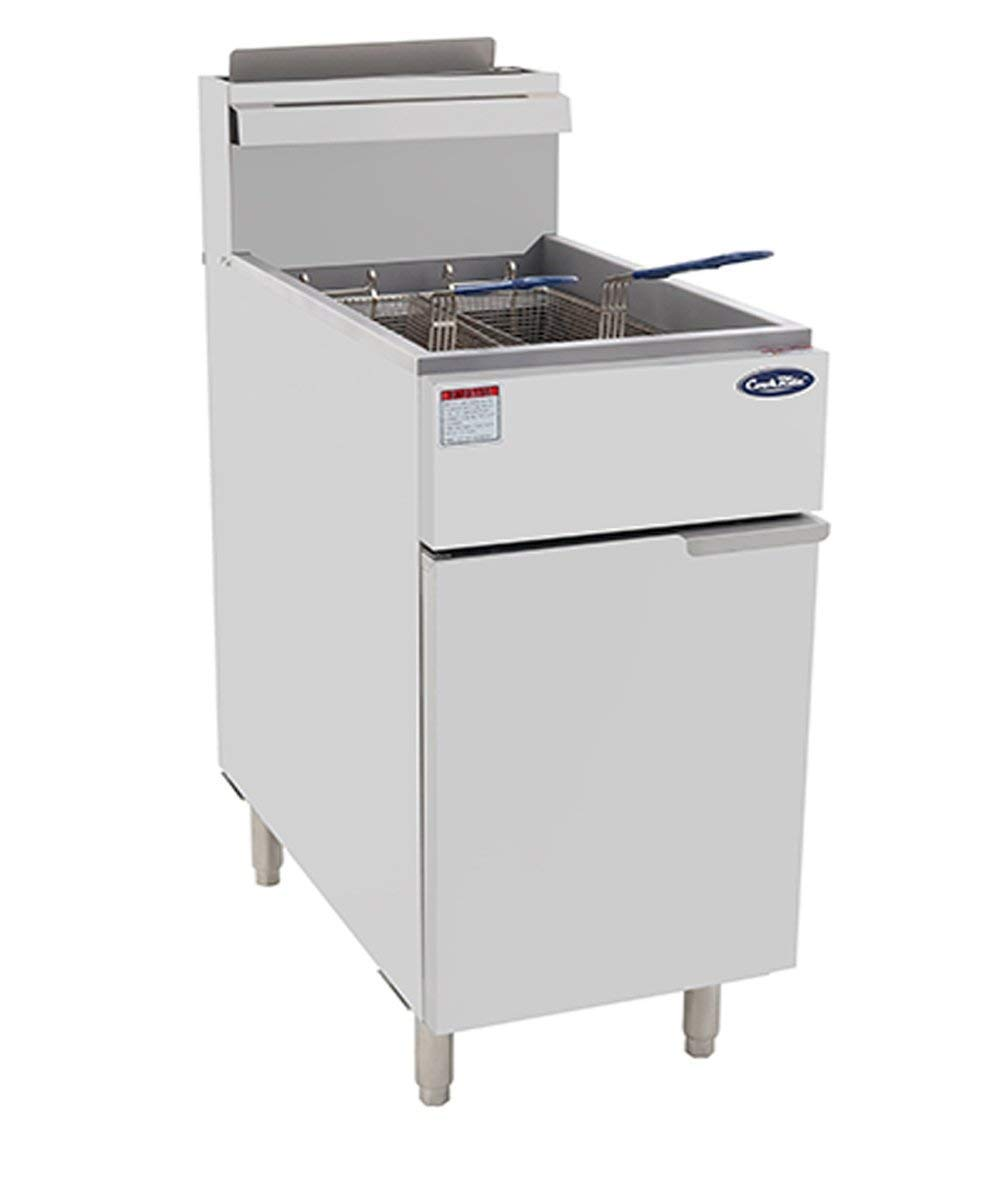 CookRite ATFS-50 Commercial Deep Fryer with Baskets 4 Tube Stainless Steel Liquid Propane Floor Fryers-120000 BTU