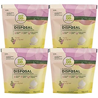 Grab Green Naturally-Derived, Mineral-Based Garbage Disposal Cleaner & Freshener, Thyme with Fig Leaf, 12 Pods (4-Pack)
