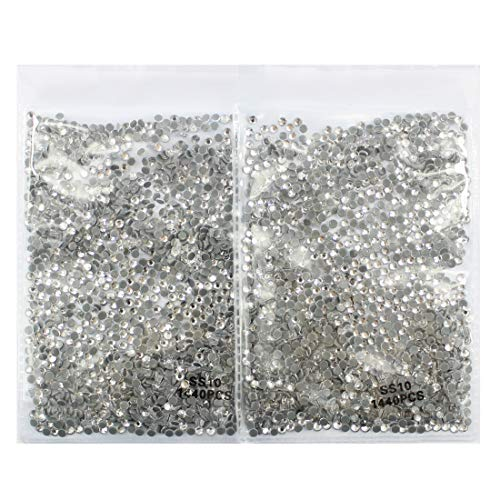 (2880pcs Hot Fix Nail Art Rhinestone Clear Crystal Shining 3D Nail Art Decoration Hotfix Rhinestones Flatback Glass Charms Gems Stones for Nails Eye Makeup Clothes Shoes (Hot Fix 2.8mm Clear))