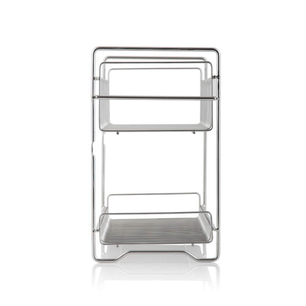 ChenDZ Acier inoxydable 304 double couche assaisonnement rack rack stockage rack de cuisine argent