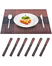 Placemat for Kitchen Dining Table Set of 6, Washable PVC Placemats, 18x12 Inches Stain Resistant Anti-Skid Coffee Mat Easy to Clean, Heat-Resistant Woven Vinyl Table Mats Home Decoration