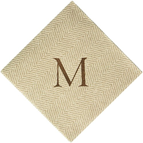 Monogrammed Cocktail Napkins - Entertaining with Caspari Jute Herringbone Paper Linen Cocktail Napkins, Monogram Initial M, Pack of 30